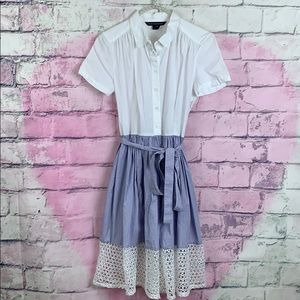 French connection button down white and blue dress